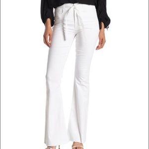 Rachel Roy Belted Flare Leg Jeans Raw Hem White 30